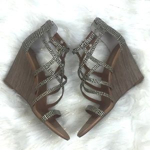 NWOT Seychelles Illustrious Natural Striped Wedges